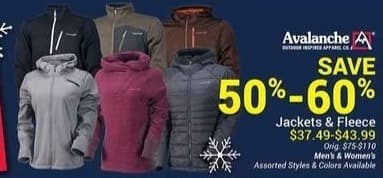 Olympia Sports Black Friday: Avalanche Men's and Women's Jackets and Fleece for $37.49 - $43.99