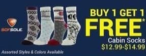 Olympia Sports Black Friday: Sof Sole Cabin Socks - B1G1 Free