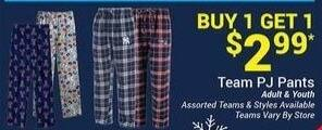 Olympia Sports Black Friday: Team Men's, Women's and Kids' PJ Pants - B1G1 for $2.99