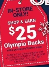 Olympia Sports Black Friday: $25 Olympia Bucks w/ Purchase of $100 or More for Free