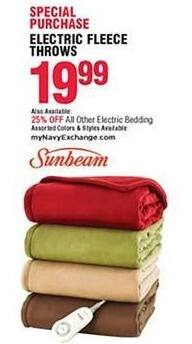 Navy Exchange Black Friday: Sunbeam Electric Fleece Throws for $19.99