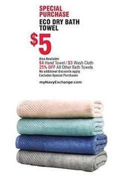 Navy Exchange Black Friday: Select Bath Towels - 25% Off
