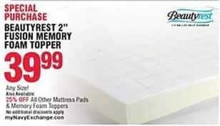 "Navy Exchange Black Friday: Beautyrest 2"" Fusion Memory Foam Topper, Any Size for $39.99"