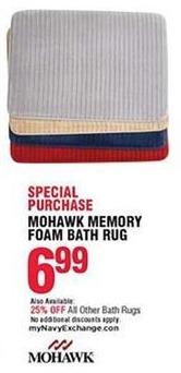 Navy Exchange Black Friday: Mohawk Memory Foam Bath Rug for $6.99