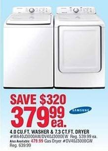 Navy Exchange Black Friday: Samsung 4 Cu. Ft. Washer or 7.3 Cu. Ft. Electric Dryer for $379.99