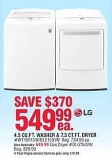 Navy Exchange Black Friday: LG 4.5 Cu. Ft. Washer or 7.3 Cu. Ft. Electric Dryer for $549.99
