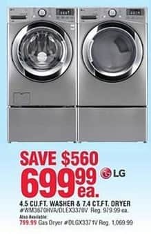 Navy Exchange Black Friday: LG 4.5 Cu. Ft. Washer or 7.4 Cu. Ft. Electric Dryer for $699.99