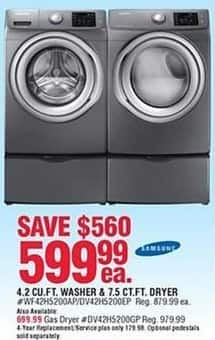 Navy Exchange Black Friday: Samsung 4.2 Cu. Ft. Washer or 7.5 Cu. Ft. Electric Dryer for $599.99