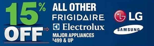 Navy Exchange Black Friday: LG, Frigidaire, Electrolux and Samsung Major Appliances $499 or More - 15% Off
