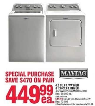 Navy Exchange Black Friday: Maytag 4.3 Cu. Ft. Washer or 7.0 Cu. Ft. Electric Dryer for $449.99