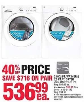 Navy Exchange Black Friday: Kenmore 3.9 Cu. Ft. Washer or 7.0 Cu. Ft. Electric Dryer for $536.99