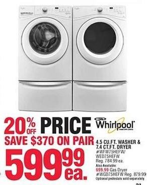 Navy Exchange Black Friday: Whirlpool 4.5 Cu. Ft. Washer or 7.4 Cu. Ft. Electric Dryer for $599.99
