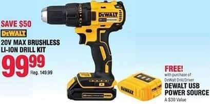 Navy Exchange Black Friday: DeWalt 20V Max Brushless Li-Ion Drill Kit + DeWalt USB Power Source for $99.99