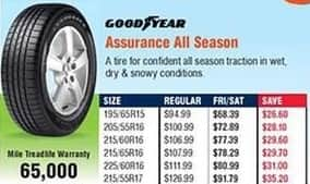 Navy Exchange Black Friday: Goodyear Assurance All Season Tires for $68.39 - $91.79