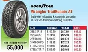 Navy Exchange Black Friday: Goodyear Wrangler TrailRunner AT Tires for $117.89 - $155.69