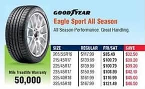 Navy Exchange Black Friday: Goodyear Eagle Sport All Season Tires for $85.49 - $121.49