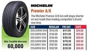 Navy Exchange Black Friday: Michelin Premier A/S Tires for $111.99 - $176.99