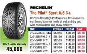 Navy Exchange Black Friday: Michelin The Pilot Sport A/S 3+ Tires for $133.99 - $173.99