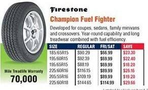 Navy Exchange Black Friday: Firestone Champion Fuel Fighter Tires for $66.99 - $114.99