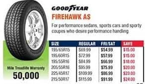 Navy Exchange Black Friday: Goodyear Firehawk AS Tires for $54.99 - $91.99