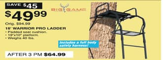 Dunhams Sports Black Friday: Big Game 16' Warrior Pro Ladder for $49.99