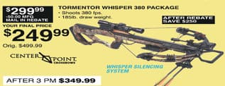 Dunhams Sports Black Friday: CenterPoint Crossbows Tormentor Whisper 380 Package for $249.99 after $50.00 rebate