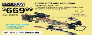 Dunhams Sports Black Friday: Ten Point Turbo XLT II Crossbow w/ Acudraw Cocking Device for $669.99