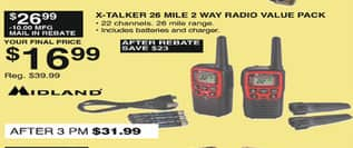 Dunhams Sports Black Friday: Midland X-Talker 26-Mile 2-Way Radio Value Pack for $16.99 after $10.00 rebate