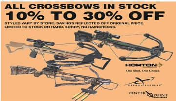 Dunhams Sports Black Friday: All In Stock Crossbows: Horton, Carbon Express, CenterPoint & More - 10-30% Off