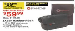 Dunhams Sports Black Friday: Simmons Laser Rangefinder for $59.99 after $30.00 rebate
