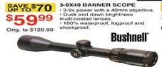 Dunhams Sports Black Friday: Bushnell 3-9X40 Banner Scope for $59.99
