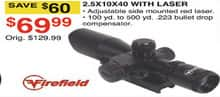 Dunhams Sports Black Friday: Firefield 2.5X10X40 Scope w/ Laser for $69.99