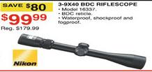 Dunhams Sports Black Friday: Nikon 3-9X40 BDC Riflescope for $99.99