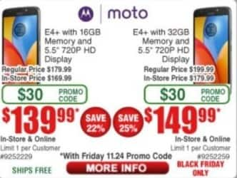 "Frys Black Friday: 32GB Moto E4+ 5.5"" Smartphone for $149.99"