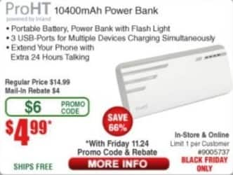 Frys Black Friday: ProHT 10400mAh Power Bank for $4.99 after $4.00 rebate
