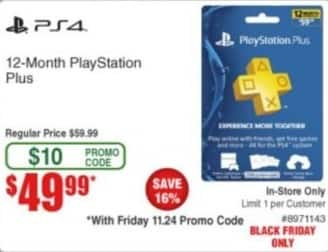 Frys Black Friday: 12-Month PlayStation Plus Membership for $49.99