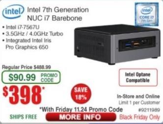 Frys Black Friday: Intel 7th Generation NUC i7 Barebone for $398.00