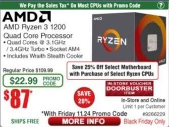 Frys Black Friday: AMD Ryzen 3 1200 Quad Core Processor for $87.00