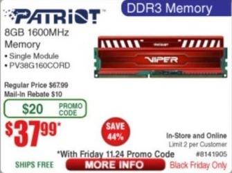 Frys Black Friday: Patriot 8GB 1600MHz DDR3 Memory for $37.99 after $10 rebate