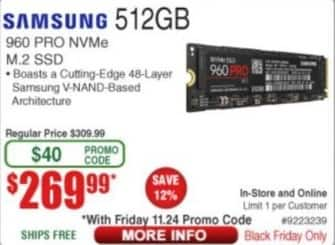 Frys Black Friday: 512GB Samsung 960 Pro NVMe M.2 SSD for $269.99