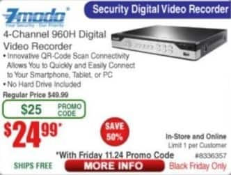 Frys Black Friday: Zmodo 4-Channel 960H Digital Video Recorder for $24.99