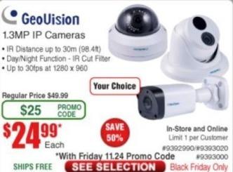 Frys Black Friday: GeoVision 1.3 Megapixel IP Cameras for $24.99