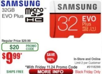 Frys Black Friday: 32GB Samsung Evo Plus MicroSDHC for $9.99