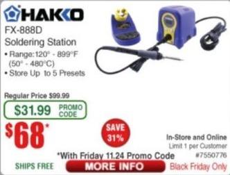 Frys Black Friday: Hakko FX-888D Soldering Station for $68.00
