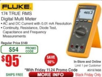 Frys Black Friday: Fluke 174 True RMS Digital Multi Meter for $95.00