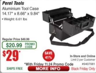Frys Black Friday: Perel Tools Aluminum Tool Case for $29.00