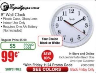 """Frys Black Friday: Equity by La Crosse 8"""" Wall Clock for $0.99"""