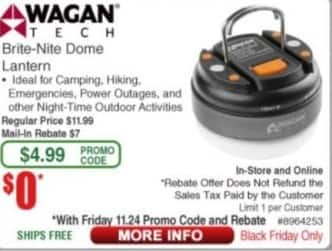 Frys Black Friday: Wagan Tech Brite-Nite Dome Lantern for Free after $7 rebate