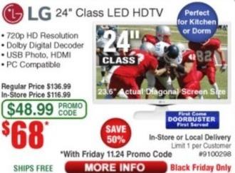 """Frys Black Friday: 24"""" LG 720p LED HDTV for $68.00"""