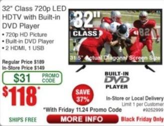 """Frys Black Friday: 32"""" LG 720p LED HDTV w/ Built-in DVD Player for $118.00"""